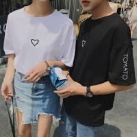 短袖女2018新款 韩版 百搭 夏装刺绣爱心情侣装T恤男女学生上衣服