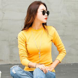 秋装新款女装长袖女t恤女打底衫纯色韩版修身小高领打底小衫