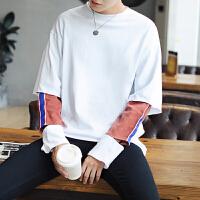 卫衣男套头 假两件秋季小清新青少年韩版潮流割破袖潮衫外套男
