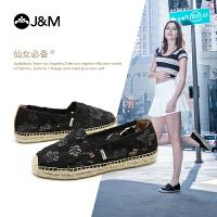 jm快乐玛丽新款蕾丝镂空鞋平底女渔夫鞋低帮懒人鞋帆布鞋
