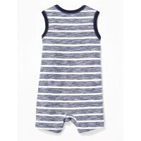 男婴儿条纹袋鼠连体衣 宝宝爬服夏季新款