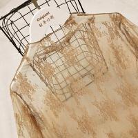 款高领韩版蕾丝打底衫女百搭性感透明网纱衣内搭长袖上衣仙