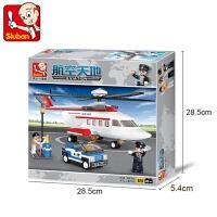 快乐航空天地私人直升飞机模型儿童拼装玩具积木儿童节礼物 小鲁班0363私人直升飞机