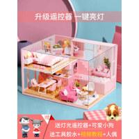 儿童玩具益智力3d立体拼板拼图木质模型房子女孩手工制作diy小屋