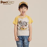 【秒杀价:45】Pawinpaw宝英宝卡通小熊童装秋季款男童卡通印花休闲T恤