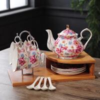 欧式田园陶瓷摆件现代客厅酒柜创意家居装饰品骨瓷花茶具结婚礼物