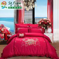 富安娜出品 圣之花婚庆床品四件套纯棉刺绣提花床单被套