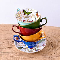 欧式咖啡杯英式下午茶杯骨瓷蝴蝶描金茶具陶瓷红茶杯碟