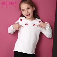 米奇丁当女童长袖纯色上衣2017冬装T恤 儿童公主卡通洋气打底衫潮