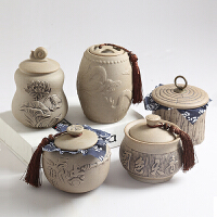 粗陶茶叶罐 陶瓷密封储茶罐子 大号老岩泥普耳罐