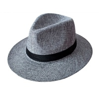 中老年人夏季帽子男士礼帽爸爸防晒透气亚麻礼帽凉帽爷爷户外遮阳 大沿亚麻礼帽 深灰 M(56-58cm)