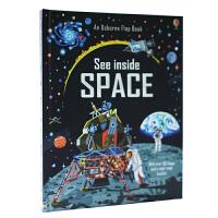 英文原版绘本 Usborne See Inside Space 看里面翻翻书系列 太空 纸板书 儿童科普百科 探秘太空