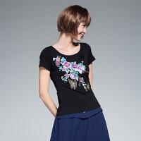 民族风女装上衣 夏装新款中国风绣花短袖T恤女修身显瘦打底衫