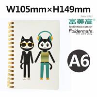 Foldermate/富美高 46664 双线圈笔记本 A6尺寸学生 喵克系列香港日韩风格文具螺旋本线圈本练习本记事日