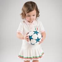 戴维贝拉夏装新款短袖连衣裙 女宝宝运动裙子DB7614