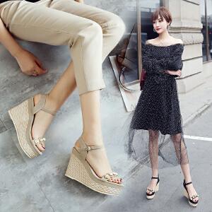 ZHR2018夏季新款韩版坡跟凉鞋松糕厚底高跟鞋女鞋平底一字扣鞋子Y60