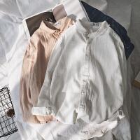 2018春夏日系风棉麻长袖衬衫男士休闲文艺纯色衬衣休闲打底衫