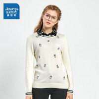 [秒杀价:43.9元,新年不打烊,仅限1.22-31]真维斯女装 冬装新款 全棉假两件长袖毛针织衫