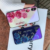 苹果7手机壳iPhone6蓝光玻璃壳8p玫瑰花6splus大气x时尚新款女潮