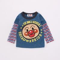 冬季面包超人大头拼接儿童长袖T恤春秋婴儿圆领上衣秋冬新款