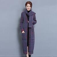新款韩版披肩毛衣外套女中长款秋冬款宽松粗毛线针织开衫长袖