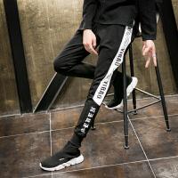 新款潮男士韩版修身小脚长裤男裤子个性哈伦裤另类字母印花潮流夜