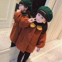 童装女童秋冬款呢子加棉外套女宝宝中长款洋气毛呢大衣韩版潮风衣