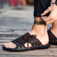 个性沙滩鞋韩版潮流夏天拖鞋男士休闲凉鞋夏季潮男一字拖鞋男防滑