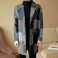 秋冬季风衣男士中长款潮牌毛呢大衣男韩版帅气宽松呢子外套秋季上新
