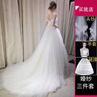 婚纱礼服2018新款齐地公主梦幻修身孕妇高腰一字肩大码结婚新娘春