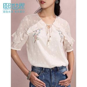 熙世界白色灯笼袖雪纺衫女2019夏季新款系带V领女人短袖雪纺上衣
