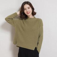 半高领毛衣女套头韩版宽松短款打底针织衫秋冬女装羊毛衫