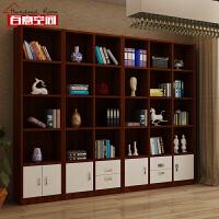 百意空间定制简约现代书柜玻璃门组合书柜酒柜隔断柜门厅展示柜子