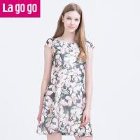 【满200减100】Lagogo/拉谷谷2016年夏季甜美印花短袖连衣裙FBB940G906
