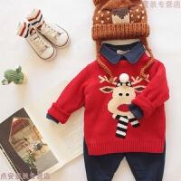 儿童男童宝宝冬季双层加厚套头圣诞毛衣打底衫女童婴儿针织衫韩版 红色