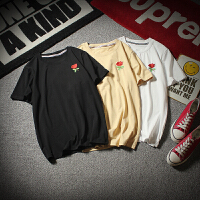 胖人夏季新款玫瑰刺绣短袖T恤男士加肥大码半袖体恤潮流韩版男装