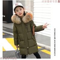 韩版7岁女童羽绒服中长款大毛领8小孩冬装加厚中大儿童白鸭绒外套 墨