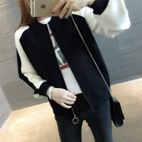 针织毛衣短外套女开衫2018春秋装新款韩版宽松棒球服学生短外套潮