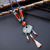 陶瓷手工复古长款百搭时尚项链吊坠夸张波西米亚民族风配饰