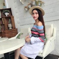 秋季新款韩版条纹针织拼接长袖连衣裙女一字性感领露肩短裙子