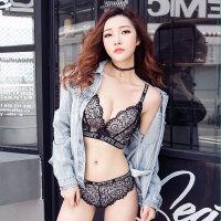 2018春季新款蕾丝深V性感字母收副乳调整型文胸无钢圈少女内衣