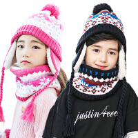 KK树新款儿童帽子围巾秋冬护耳宝宝帽子围巾套装一体两件套男女童
