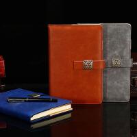 商务笔记本文具a5会议记录本子复古日记本皮面带扣记事本定制logo