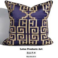 中式简约现代沙发抱枕 绸缎汽车靠垫