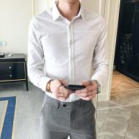 帅潮男小号长袖白衬衣S号XS矮小个子棉麻内衬工装衬衫