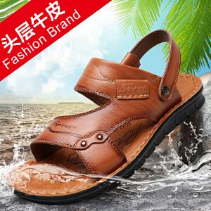 宜驰 EGCHI 凉鞋男士夏季头层牛皮休闲沙滩男鞋子11447