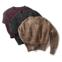 春季女装折扣东大门纯色V领毛衣女套头长袖针织衫短