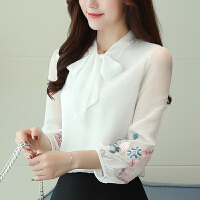 2018春季新款韩版气质蝴蝶结打底衫雪纺上衣九分灯笼袖刺绣衬衫女 白色