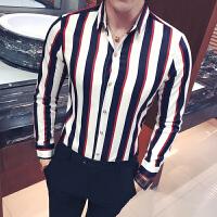 新款18秋冬男式韩版修身加肥加大长袖衬衫青年潮流竖条纹免烫休闲