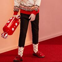 【2件4折:89】巴拉巴拉旗下女童加绒裤2019年新款儿童牛仔裤黑色小脚裤子洋气女